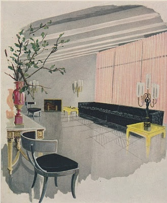 Interior by Billy Baldwin; drawing by Sheridan Kettering in House & Garden, Sept. 1948 via The Peak of Chic