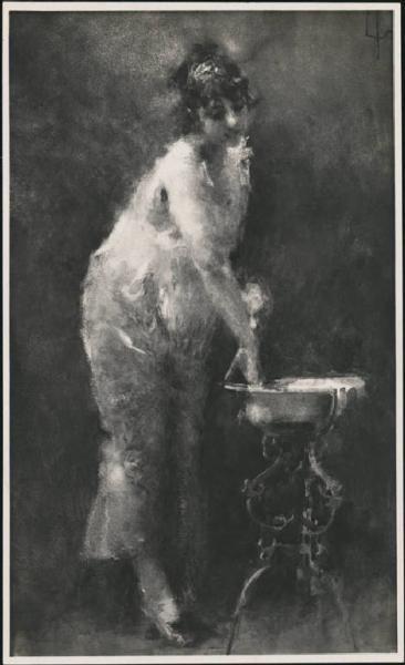 """Tranquillo Cremona (1837-1878)  """"Donna che si lava (Il mattino)""""  Torino, Collezione Enrico Valdata"""