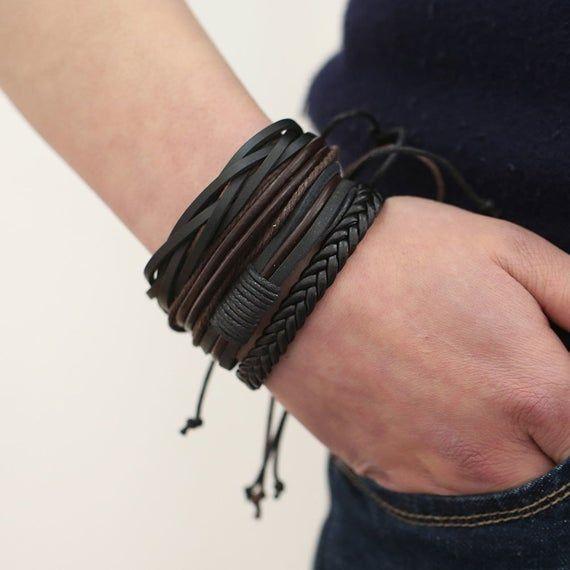 Designs Jewelry by CUPHERS Bracelets & Bangles Mens Leather Bracelets 2018 Pulseira Masculina Jewelry Charm Bileklik Pulseiras Boyfriend Girlfriend Jewelry - Brand Name: JOCESTYLE Bracelets Design, Bracelets For Men, Handmade Bracelets, Bangle Bracelets, Bangles, Men's Leather Bracelets, Braided Bracelets, Bracelet Cuir, Bracelet Set
