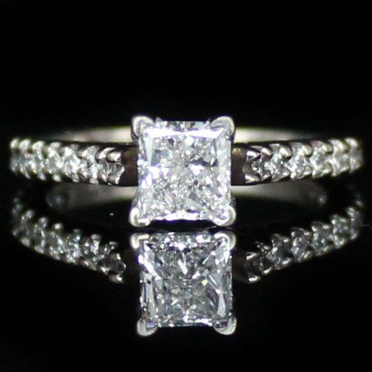 1.40 CTW IGI Princess Cut Engagement Ring * Diamond Exchange Dallas