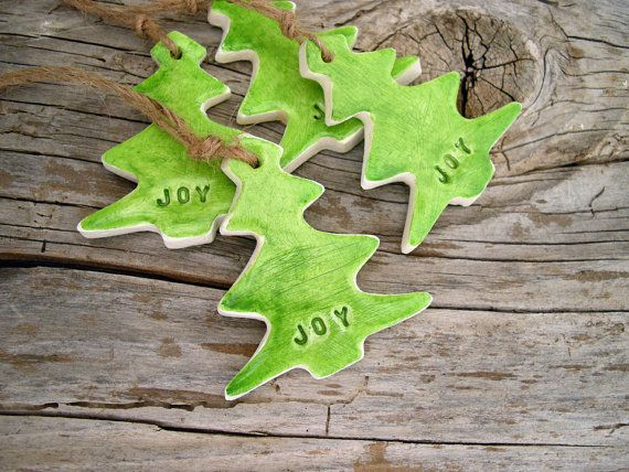 Joy Christmas gift tags clay ornaments by FishesMakeWishesHome