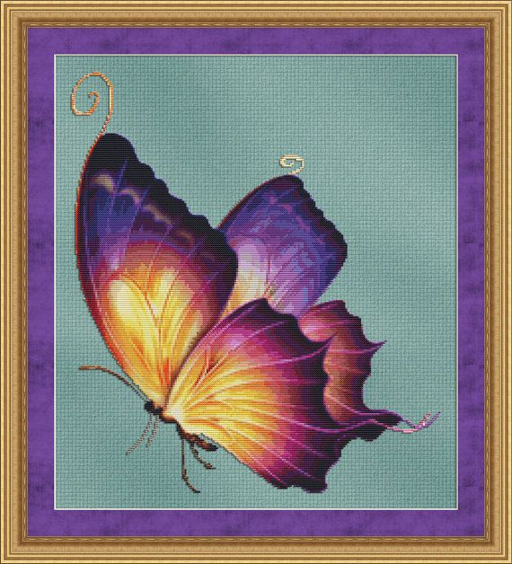 Counted Cross Stitch Pattern Flutter No. 2 Vivid Colors Yellow Purple Orange Butterfly - INSTANT DOWNLOAD PDF - StitchX via Etsy