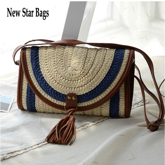 2014 New Arrival Trend straw braid beach bag straw shoulder bag rattan bag women's handbag woven tassel bag TS32A $17.77