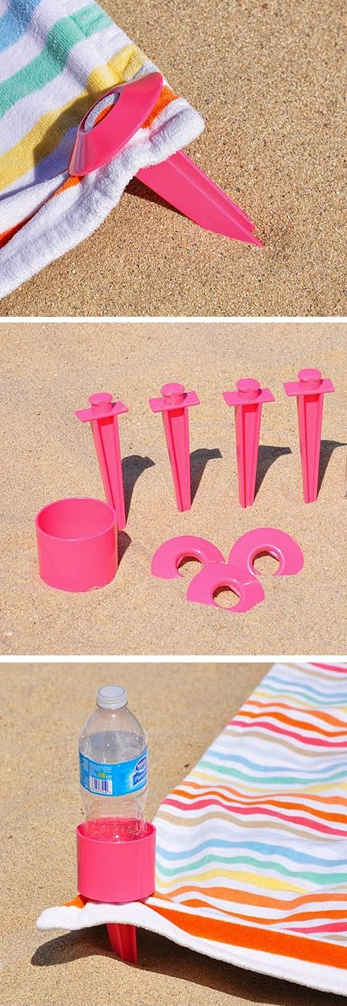 BeachTacs // beach towel stakes that peg into the sand - stops your towel blowing away, with a bonus drink holder! Genius! #product_design
