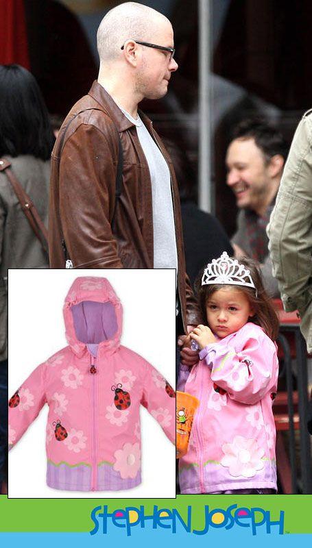 "Matt Damon Takes ""Princess Isabella"" (Gia Damon) Out Trick-or-Treating in our Stephen Joseph Floral Ladybug Raincoat"