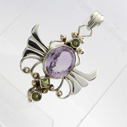 Pendant Angel Wings with Amethyst and Peridot | 925 Sterling Silver | Crystal Heart Melbourne Australia since 1986
