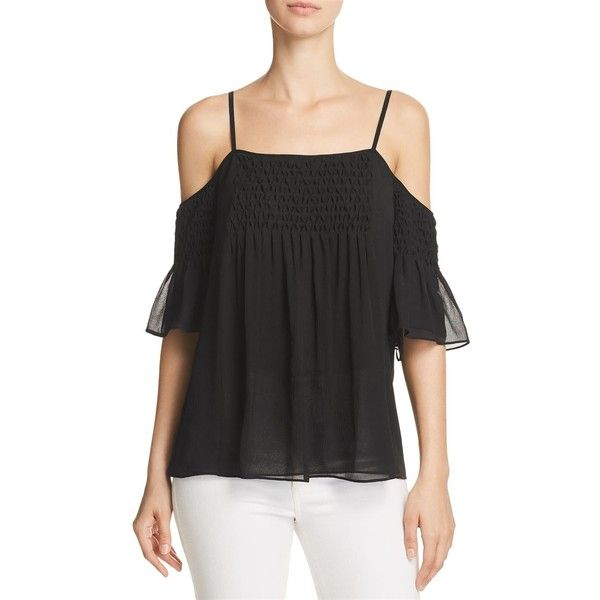 Chelsea And Walker Alita Silk Top ($230) ❤ liked on Polyvore featuring tops, black, spaghetti-strap tops, smocked top, silk tops, strappy top and smock top