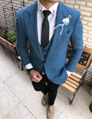 Terziademaltun - İtalyan kesim erkek ceket yelek pantolon petrol mavi piti kareli kombin T1769 (1)