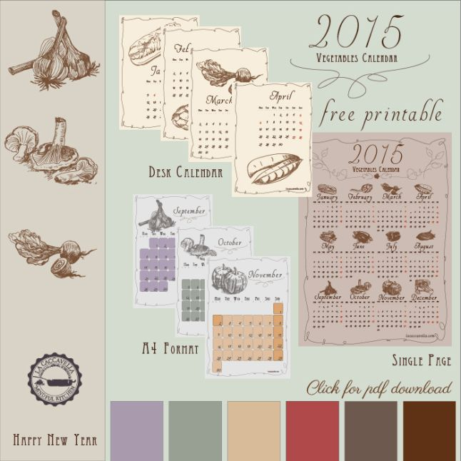 Calendario Vegetale 2015 Stampabile gratis [Free Printable Vegetables Calendar 2015]