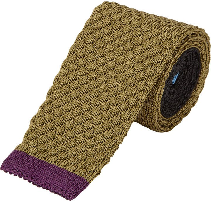 $69, Penrose London Tipped Colorblock Tie. Sold by Barneys Warehouse. Click for more info: http://lookastic.com/men/shop_items/128326/redirect