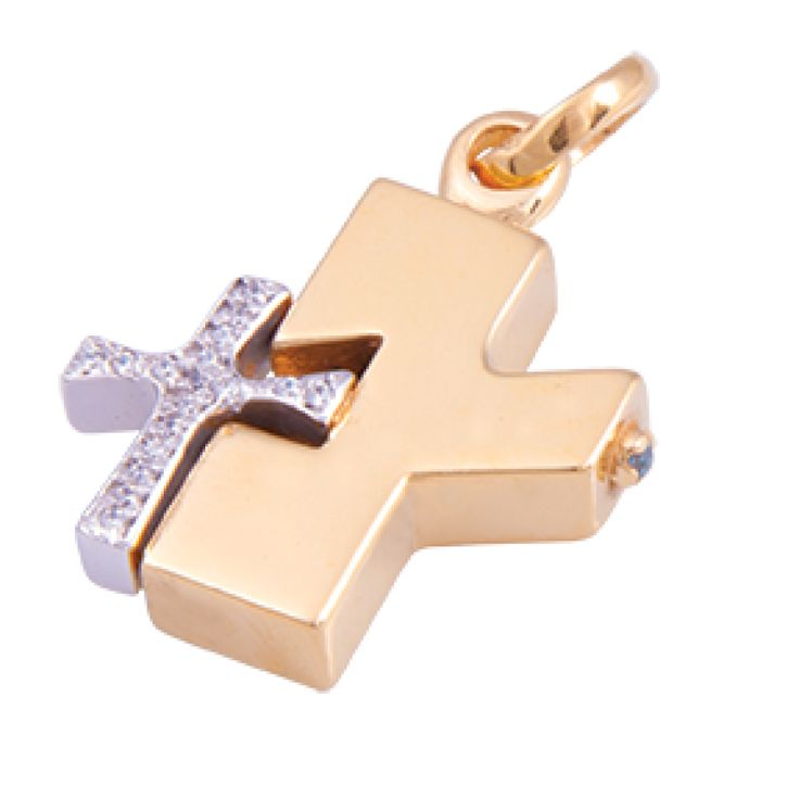 Gold & Platinum Plated Double Cross with High Quality European Zircons and Turquoise detail