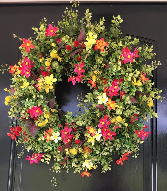 Spring Wreath - Summer Wreath - Front Door Wreaths - Wildflower Wreath - Wreath for Door - Summer Door Wreath Our spring/summer door wreath is the perfect way to welcome guests to your home season after season! This wreath is overflowing with delicate faux wildflowers in vibrant shades of pink, red, yellow, and orange, and lush boxwood, coleus, and baby eucalyptus! This wreath is designed on a grapevine wreath base and measures approximately 23 inches.  *All of our designs can be used…
