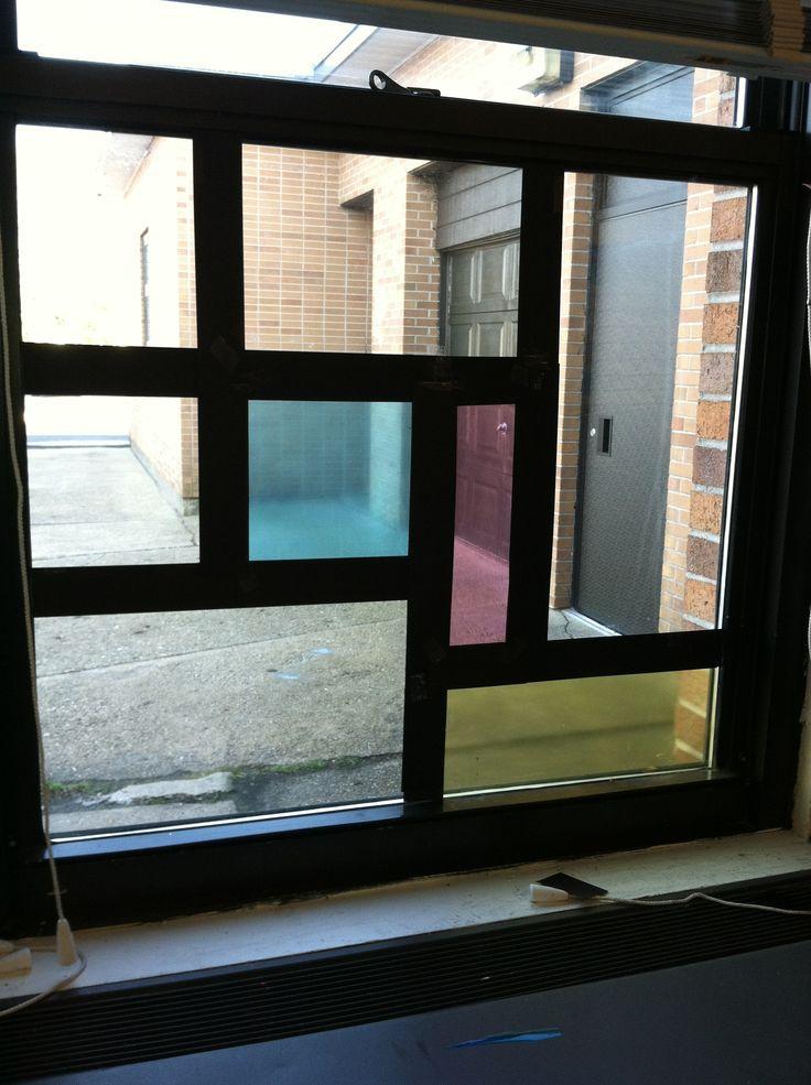 One of my Mondrian-inspired windows in my classroom.