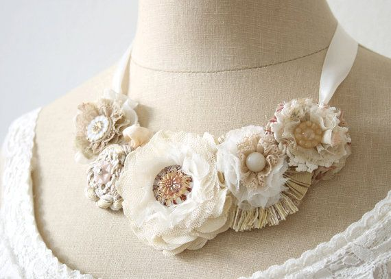 Bridal Statement Necklace Floral Statement by rosyposydesigns, $146.00