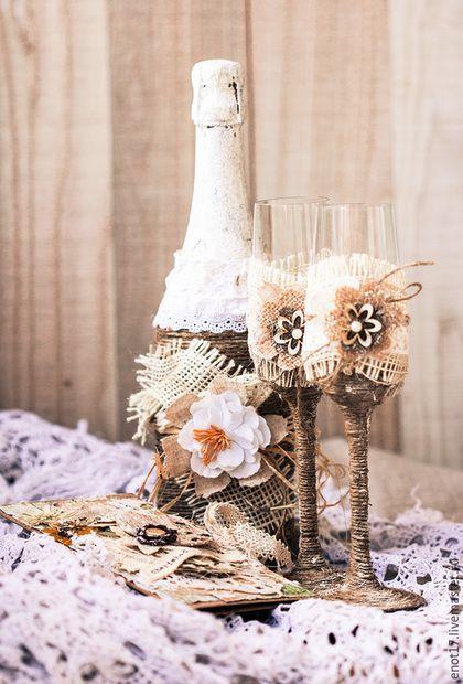 Подарки для влюбленных ручной работы. Ярмарка Мастеров - ручная работа. Купить Свадебный набор - шампанское, конверт и два бокала в стиле рустик. Handmade.
