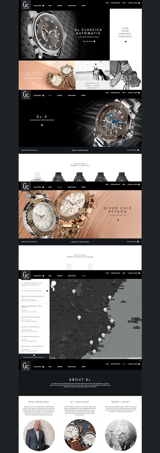 Gc Watches #webdesign #inspiration #UI #Clean #Minimal #Flexible #Responsive Design #CSS3 #HTML5 #Black #Silver