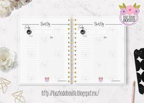 Agenda Diaria 2017 imprimible gratis Haz todo bonito  Agenda Diaria Black and White
