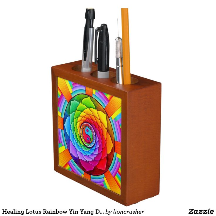 """Healing Lotus Rainbow Yin Yang Desk Organizer by Rebecca Wang on Zazzle.  Keep your desk neat and tidy with a customized desk organizer. Beautiful colorful animal artwork adorns the front and back of this mahogany wood finished desk piece. Great for keeping clutter contained! Dimensions: 5"""" l x 5"""" w x 1.75"""" d Printed front and back on two 4.25"""" white ceramic tiles. Designed with three compartments."""