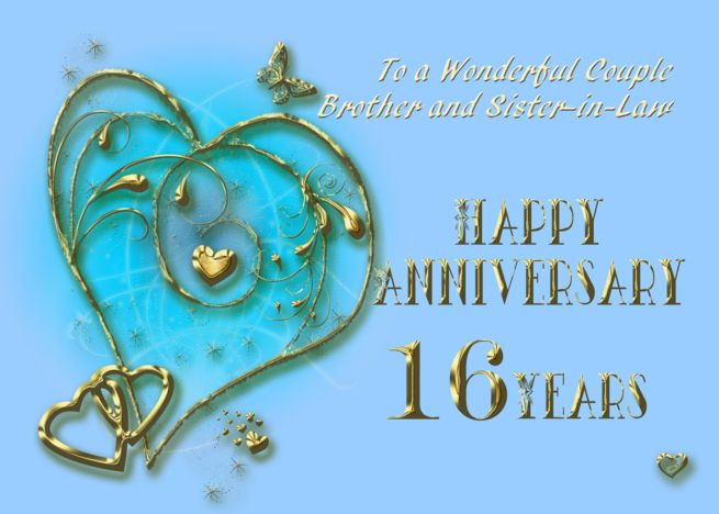 16 Year Anniversary Card For Brother And Sister In Law Card Ad Sponsored Anniversary Wedding Anniversary Cards Anniversary Cards Paper Gifts Anniversary