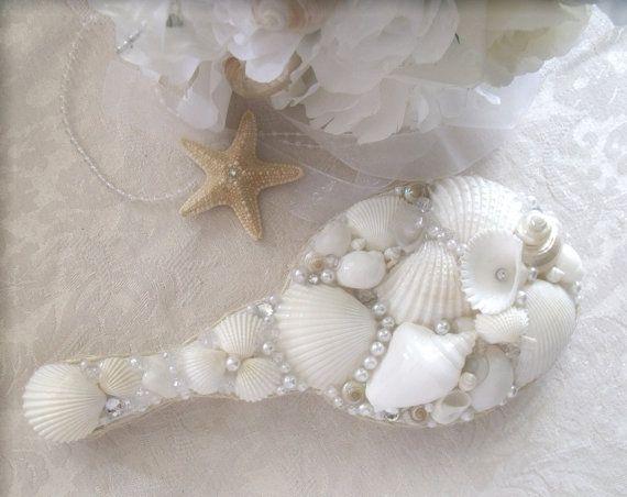 White Sea Shell Bridal Wedding Wooden Hand  Mirror Beach Cottage Chic Nautical Mermaid Decor via Etsy