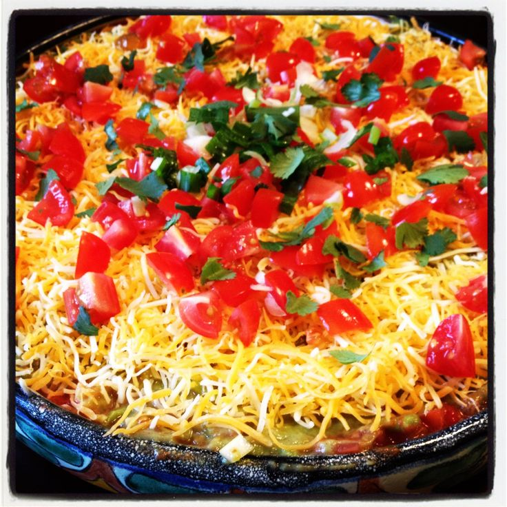 Mexican Layered Bean Dip...perfect for your Superbowl party!