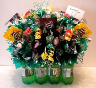 Candy Bouquets. Great gift idea, but cut the sugar & think up some healthy snacks/drinks