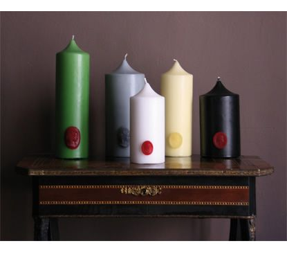 The classic range of Pillar Candles.  The cameos decorating the candles are tributes to historical figures that are dear to Maison Cire Trudon, as Madame de Pompadour or the Empress Josephine.
