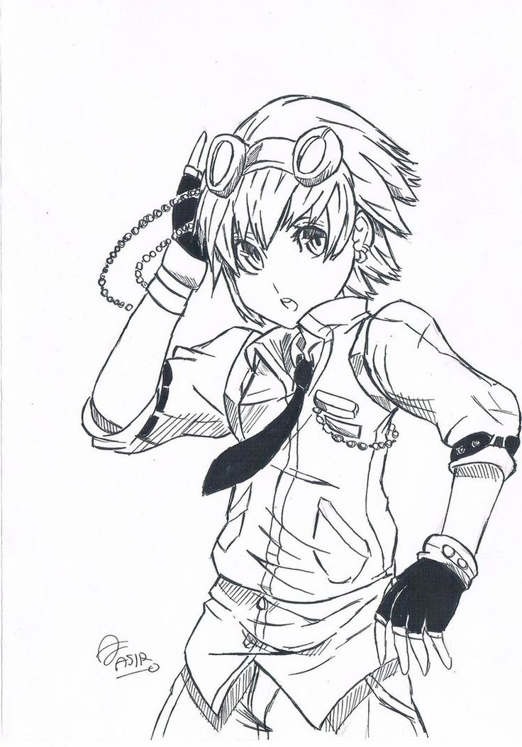 Easy anime drawings steampunk character simple drawing for Easy steampunk ideas
