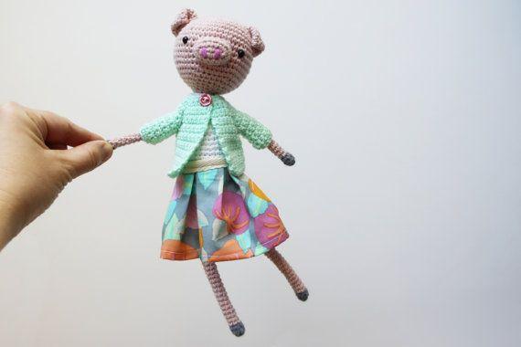 Crochet Pig Toy  Amigurumi Pig  Stuffed Pig Toy by daydreamsbymeri, $30.00