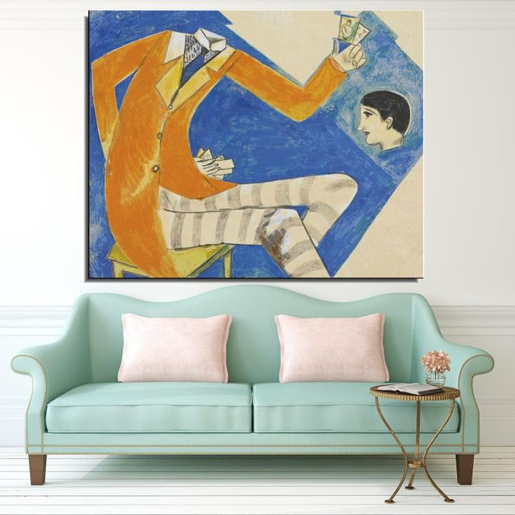 Марк Шагал человек в костюме Фигура Абстрактная Живопись Спрей Холст Бескаркасных Картина Маслом Без Рамки Home decor Красочные Шарф