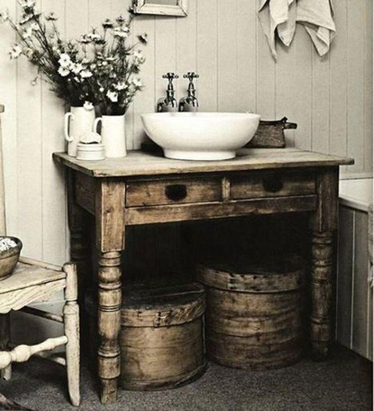 Custom vanity distressed with painted top rustic