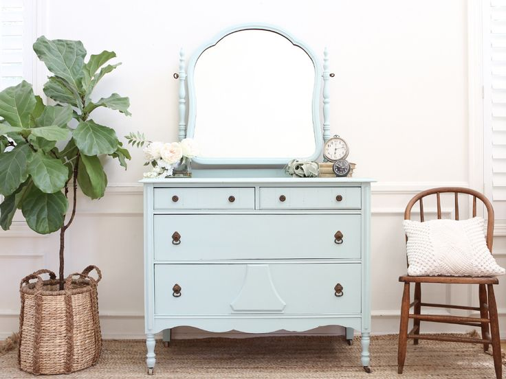 Shabby Chic Antique Dresser / Vanity Dresser with Mirror 275 - ShopGoldenPineapple