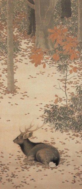 菱田春草 HISHIDA, Syunsou 秋林遊鹿 Deer playing in the autumn forest 1909年 日本画 color on silk 115.5×50.3cm #nihonga