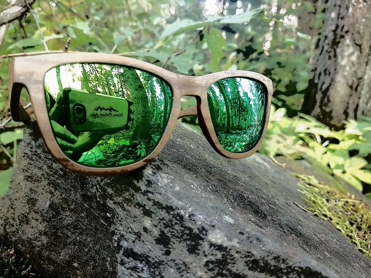Natural Wood With Green Mirrored Polarized Lenses