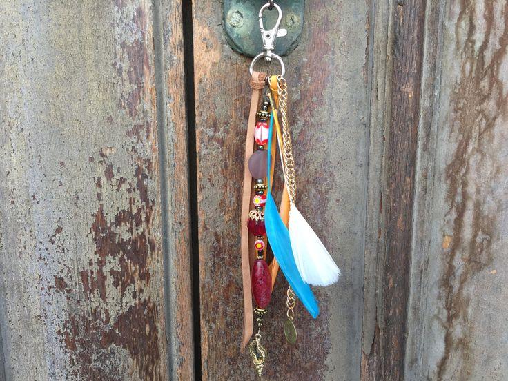 Boho feather charm /Beach bag charm / Key chain Boho / Bohemian tassel jewelry /gypsy beach bag charm/ gift key chain/ key chain boho tassel by BelaCiganaBags on Etsy