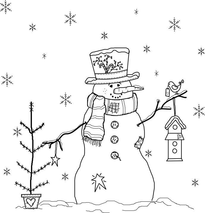 Beyond the Fringe Crafts: Prim Snowman 2012 Free Digital Stamp