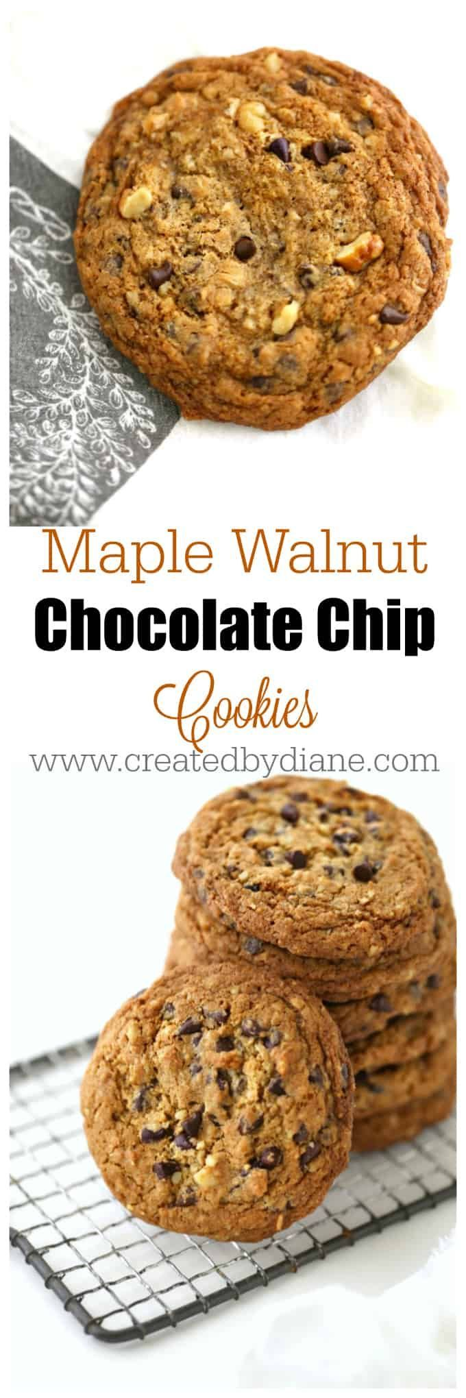 Maple Oatmeal chocolate Chip Cookies that are BIG and delicious, a irresistible flavor that will have you making batches of cookies in no time, they will be devoured quickly! www.createdbydiane.com
