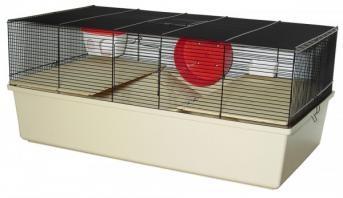 """Dieser komplett ausgestattete Käfig Sonny """"L"""" inkl. 2 Holzetagen, 2 Holzleitern, Napf, Haus und Laufrad enthält alles damit sich Ihre Tiere so richtig wohlfühlen."""