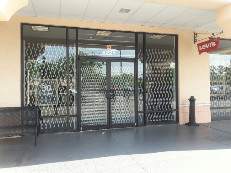 Clothing store secured with xpanda security gates. Using  Unique heavy duty double diamond gates to secure the doors.