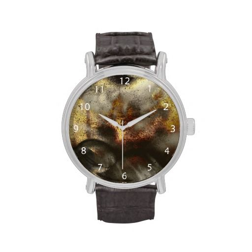 Gold and Silver Star Dust Effect / Vintage Leather Strap Wrist Watch #fomadesign