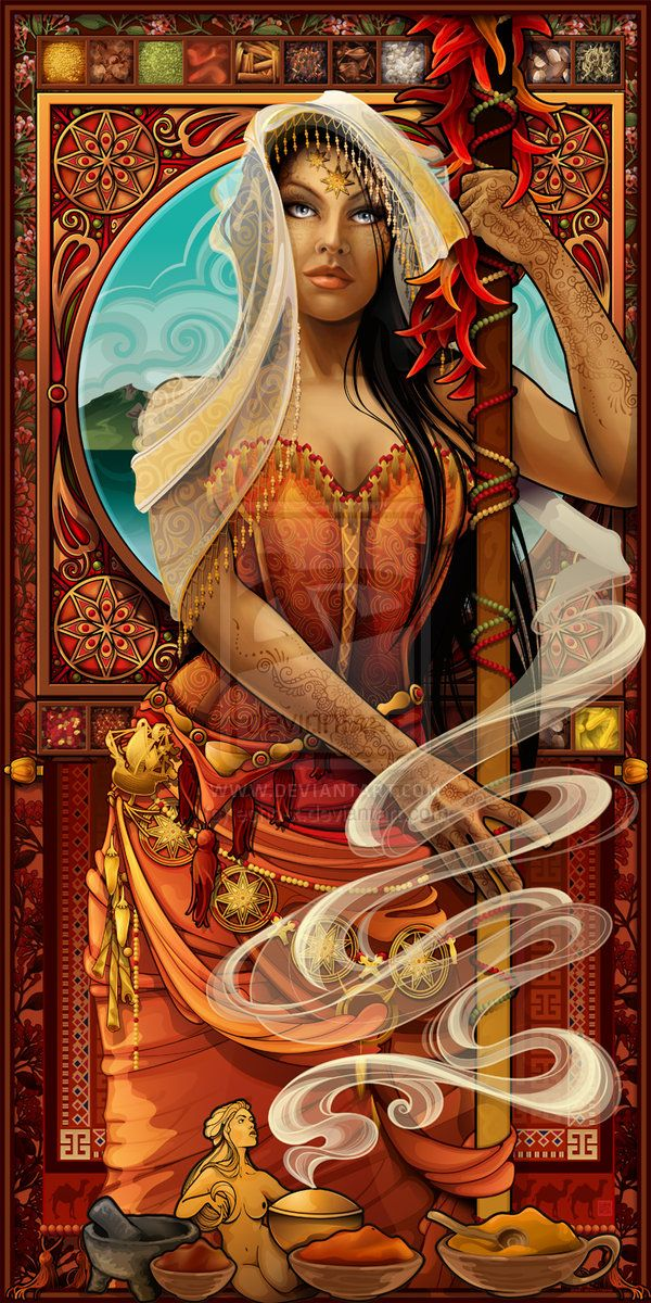 Goddess of Spices by echo-x.deviantart.com on @deviantART - Tenth in a series of posters for Buford Highway Farmer's Market (a world famous gourmet grocer) in Atlanta, Georgia.