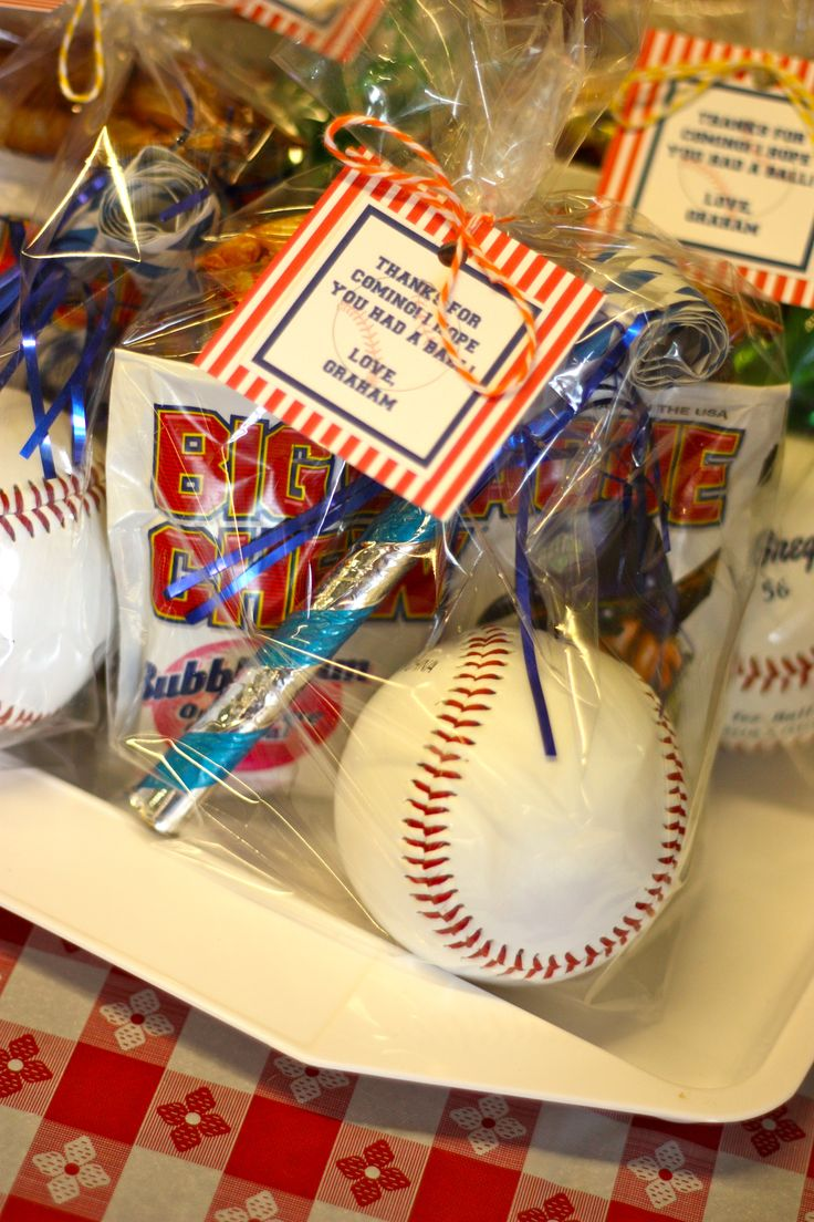 Thanks for coming! I hope you had a ball!  Sports party favor includes: a baseball & Big Chew! | Poppy Event Design