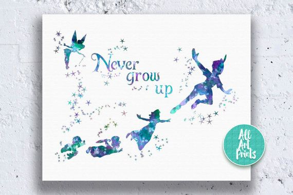 Peter Pan Quote Watercolor Art Print Instant Download.  This instant download listing is for a watercolor art printable in size 8x10 / 16x20 format