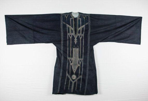 Vintage traditionellen jemenitischen BEDUINEN INDIGO Kleid 7'0 '' x 4'2 '' _ 214 x 128 cm Id: 0078