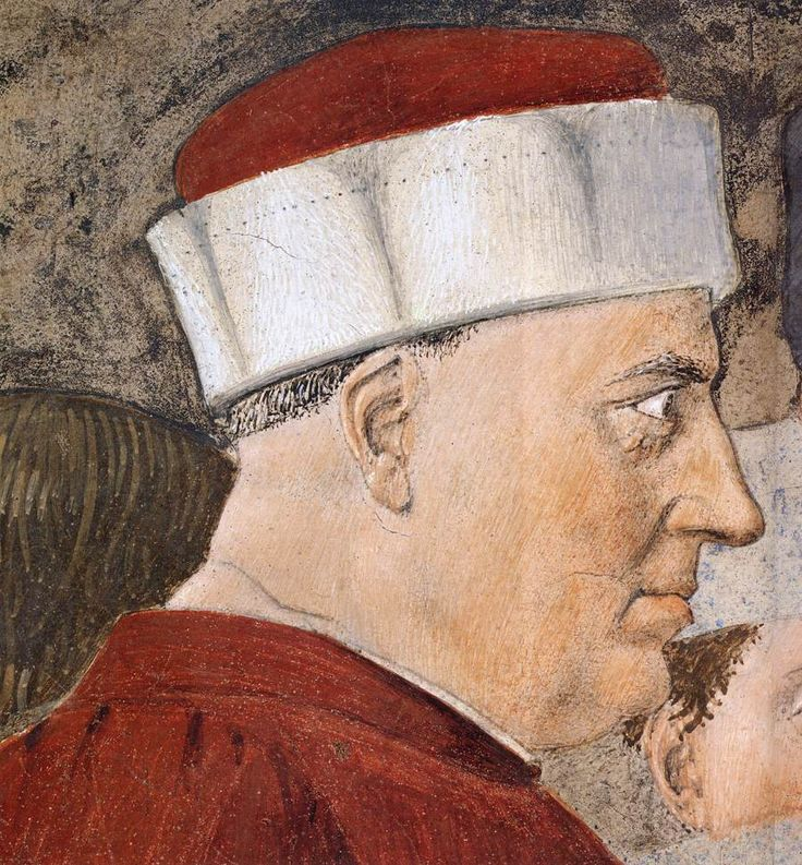 Piero della Francesca. 2b. Meeting between the Queen of Sheba and King Solomon (1452-66), Detail. Fresco. San Francesco, Arezzo