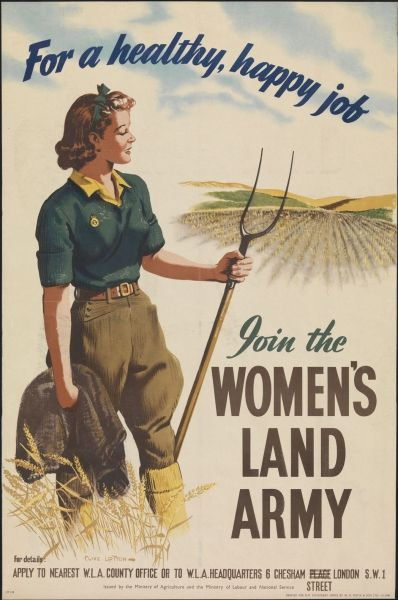 Recruitment poster for the Women's Land Army