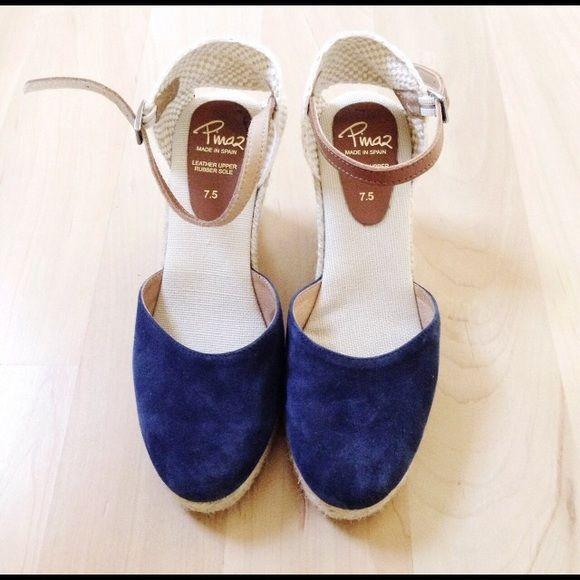 Pinaz real leather navy espadrilles heels - Pinaz real leather navy espadrilles heels Inaz navy leather suede espadrilles heels in 7.5, worn twice. In excellent condition Pinaz Shoes Espadrilles