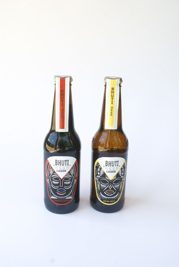 South African Bhuti beer packaging designsouth africa... different colors for each beer