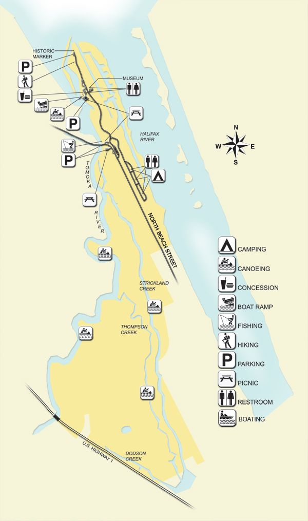 Florida State Parks Camping Map.Tomoka State Park Visitors Can Stroll A One Half Mile Nature Trail