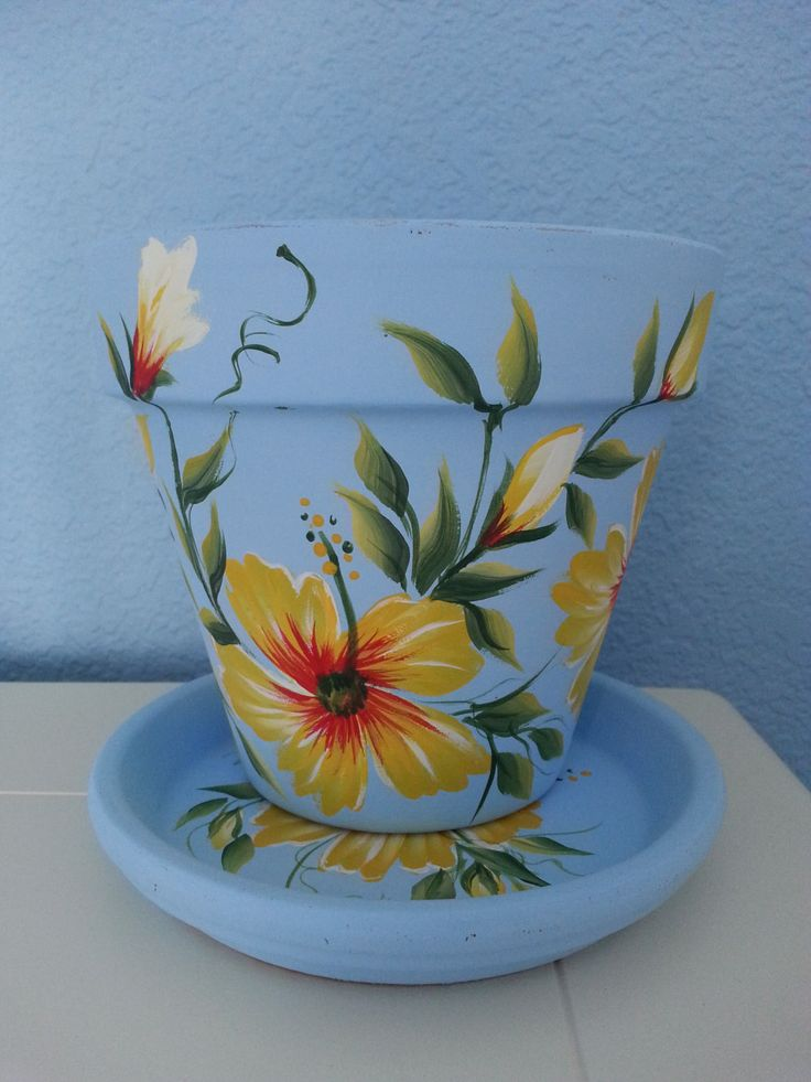 "Hand painted  6"" Flower Pot & Matching Saucer *Tropical Design *Yellow and red Hibiscus Flowers on Light Blue Background by RaindropsNRoses on Etsy"